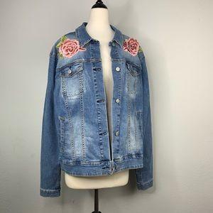 RARE LuLaRoe Harvey Rose Embroidered Denim Jacket